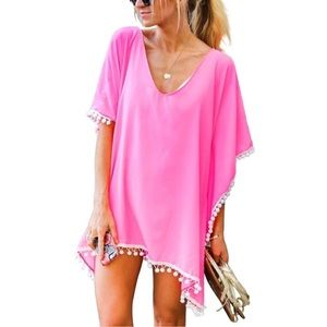 Other - ✨JUST IN!✨SALE!✨NEW! PINK BOHO COVERUP TOP DRESS